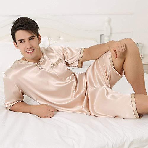 Mode Bolawoo Pijama Dos Satén Con Corto Pantalón Bolsillo Hombre Marca Verano Piezas De Cuello Silber V Hrxw0q1Wr