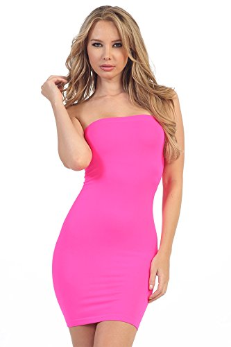 (Kurve Strapless Stretchy Comfort Mini Sexy Tube Dress -Made in USA-, Neon Fuschia, Small / Medium)