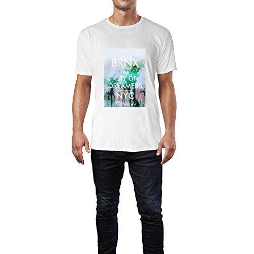 SINUS ART® Palmen BRNX The City of Dreamers NYC Herren T-Shirts in Weiss Fun Shirt mit tollen Aufdruck