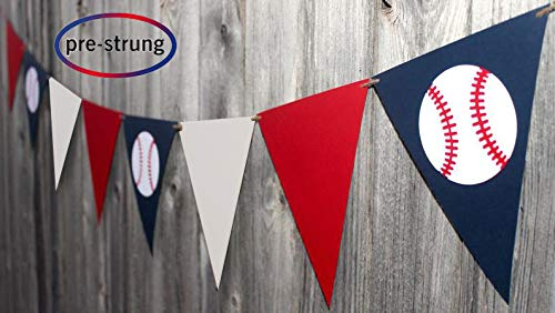 Baseball Flag Banner Decortaion Concessions Birthday Pennant Bunting Sports Party Supplies(Pennant)]()