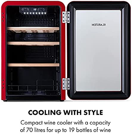 Klarstein Vinetage Uno - Nevera para vinos, Temperaturas de 4 a 22 °C, Refrigeración por compresión, Iluminación LED, 2 estantes de madera, Panel de control, Capacidad 70 L, Hasta 19 botellas, Rojo