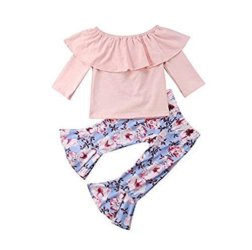 Toddler Kids Baby Girls Long Sleeve Pink Top Ruffled Off Shoulder Tube Shirt & Ruffled Floral Flared Pants 2Pcs Outfits Set (3-4 Years)