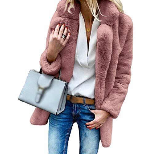 Couleur Manches Rouge Manteau Fourrure Revers Hiver Confortable Outwear Veste Doux Automne Longues Ketamyy Unie Femme Fausse Wnwq4FXqUt