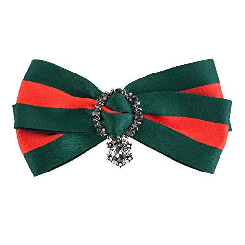 DDLKK Grosgrain Woven Striped Pre-Tie Ribbon Collar Bow Needle Jewelry Female Accessories Women's Elegant Party Fashion Needle Jacket Women's Jewelry