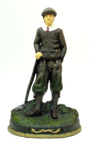 Golfer Statue Iron Sculpture Man Home Door Stopper Indoor Outdoor Hinge Office Tabletop Golf Sports Decorative Accent Countertop Figurine Decor Ornament