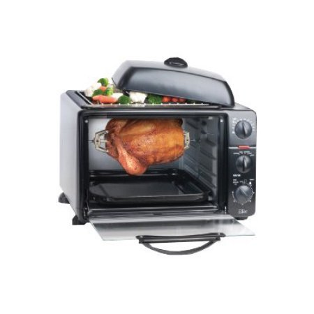 commercial 23 liter toaster oven with rotisserie grill griddle top with lid menuculture. Black Bedroom Furniture Sets. Home Design Ideas