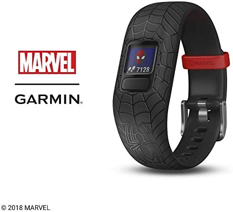 Garmin vivofit jr. 2, Kids Fitness/Activity Tracker, 1-Year Battery Life, Adjustable Band, Marvel Spider-Man, Black