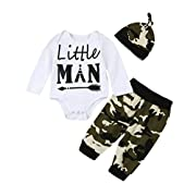 Kingdory Newborn Infant Baby Letter T Shirt Romper+Camouflage Pants Outfits Clothes Set (6M)