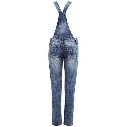 Juicy Trendz Mujeres Mezclilla Jeans dungaree Señoras Jumpsuit playsuit Niña Full Light Blue