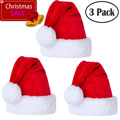 Santa Hat Velvet Comfort Christmas Hats for Adults and Kids Winter Plush Xmas Santa Hats Cap for Christmas New Year Festive Holiday Party Supplies, 3 Pieces