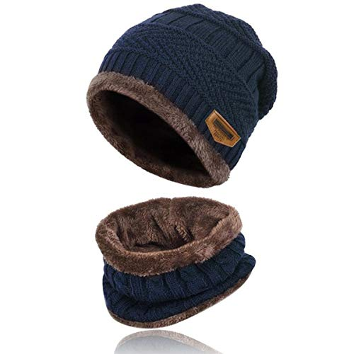 Kata Beanie Hat Thick Knit Hat Warm Fleece Lined Scarf Set Warm Thick Winter Hat For Men & Women (Blue)