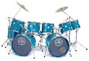 HB Drums Elite Custom 12 pc Double Bass Drum Set USA Lacquer Finish Options: Pacific Reef Blue