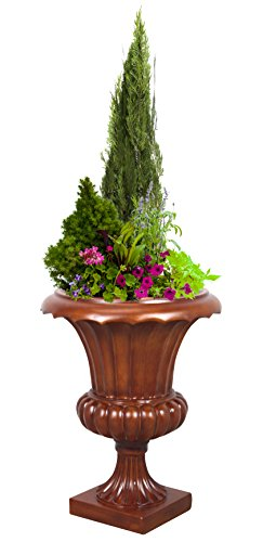 Corinthian Tuscany Urn Planter, Wood Color Finish, Indoor Outdoor Planter Urn 23