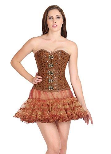 間違いなく究極のファシズムButterfly Print Brown Leather Gothic Costume Waist Training Overbust Corset Top