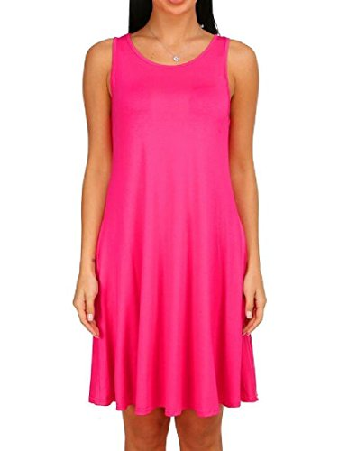 Solid Dress Red Coolred Mid Pleated Tops Length Women Rose Tank Color Casual HqwFSEq