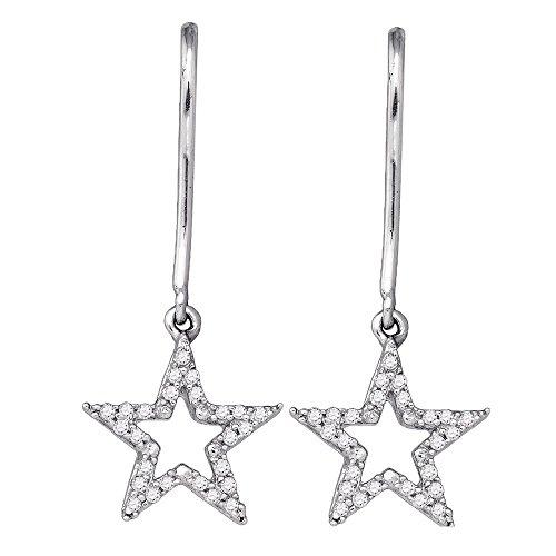 10kt White Gold Womens Round Diamond Star Dangle Earrings 1/8 Cttw (Star Diamond Gold White Earrings)