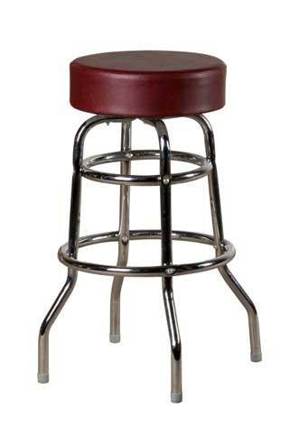 Oak Street Swivel Bar Stool backless button top vinyl round seat wine vinyl - SL2129-WINE - Vinyl Backless Stool