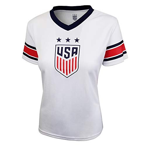Football Womens V-neck T-shirt - Icon Sports U.S. Soccer USWNT Women's Football Polymesh Tee (Primary White, Medium)