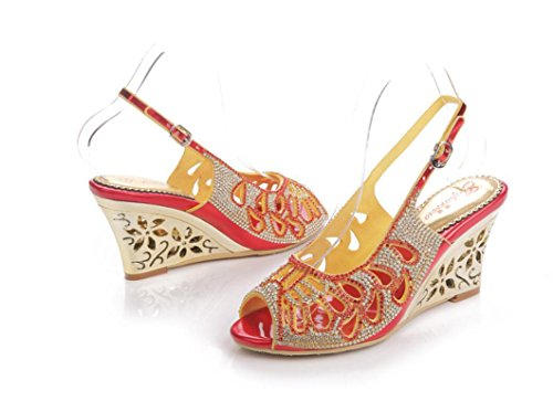 SHFANG Sandalias del verano de las señoras cristalinas del tacón alto Poe  del dedo del pie ... d8820da1ef75