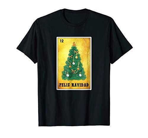 (Feliz Navidad Loteria Card Tee Christmas Tree T)
