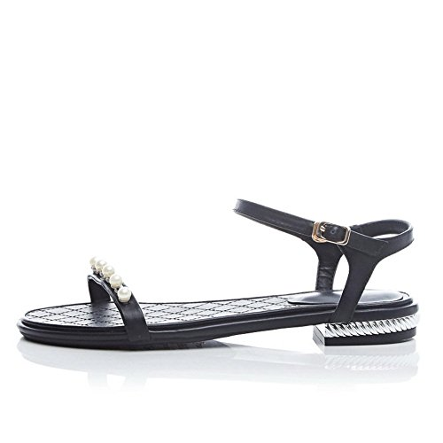 Toe Bead Open Soft Sandals Material Black Girls 1TO9 xC5wqtC