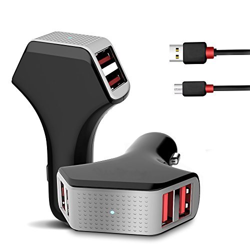 Car-Charger-Jelly-Comb-50W10A-4-Port-USB-Car-Charger-5-FT-USB-Micro-Cable-Smart-Identification-Tech-for-iPhone-Android-iPad-Portable-and-All-Other-USB-Powered-Devices