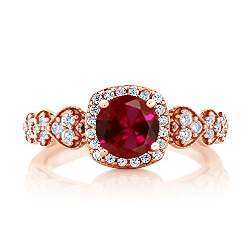 Gem Stone King 1.32 Ct Round Red Created Ruby 18K Rose Gold Plated Silver Women s Ring Available 5,6,7,8,9
