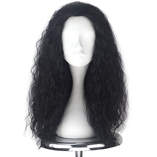 Miss U Hair Unisex Long Curly Hair Party Movie Cosplay Costume Wig Halloween (Jet black) -