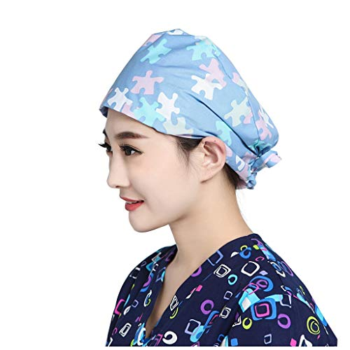 Ghazzi Cotton Bandage Adjustable Scrub Cap Nurse Doctor Scrub Cap Surgical Medical Sweatband Dustproof Work Hat for Men/Women