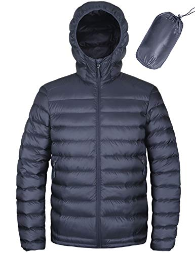 HARD LAND Men's Hooded Packable Down Jacket Lightweight Insulated Winter Puffer Coat Outdoor Gray Blue Size M (Best Outdoor Down Jacket)
