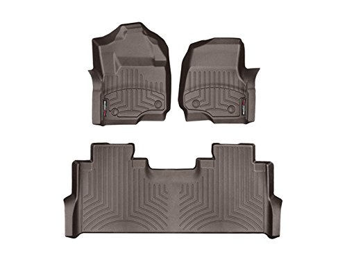 Weathertech DigitalFit 471012-1-2 - First and Second Row All Weather Floor Liners for 2017 Ford F-250/F-350/F-450/F-550 SuperCrew (Cocoa) by WeatherTech