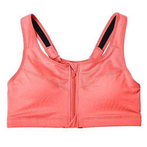 Women Padded Sports Bra,Open Front Zipper Patchwork Wire Free High Impact Sports Bra Orange