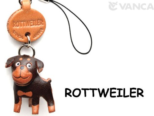 Rottweiler Leather Dog mobile/Cellphone Charm VANCA CRAFT-Collectible Cute