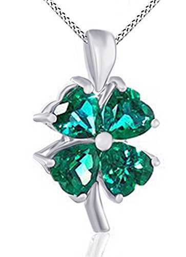 (Jewel Zone US Mothers Day Jewelry Gifts 10K Solid Gold Simulated Green Emerald Four-Leaf Clover Pendant Necklace,)
