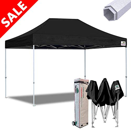 Eurmax 10x15 Premium Ez Pop up Canopy Instant Canopies Shelter Outdoor Party Gazebo Commercial Grade Bonus Roller Bag (Black)