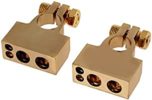 Justech 1Pair 4//8 Gauge AWG Car Battery Terminal Connectors Car Positive /& Negative Battery Terminal Clamp Replacement Easy Installation with Transparent Cover for Car Auto Caravan Marine Boat-Gold