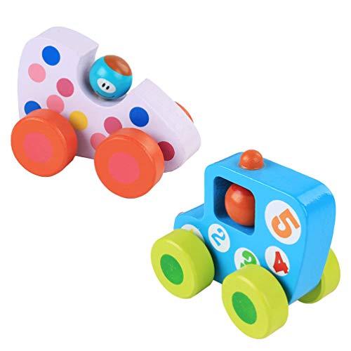 NUOBESTY Houten speelgoed voor peuters, mini-busje houten peuterspeelgoed, houten auto's ambachten voor kinderen en…