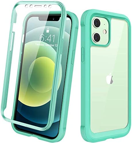 "Diaclara Designed for iPhone 12/12 Pro Case, Full Body Rugged Case with Built-in Touch Sensitive Anti-Scratch Screen Protector, Soft TPU Bumper Case for iPhone 12/12 Pro 6.1"" (Green and Clear)"