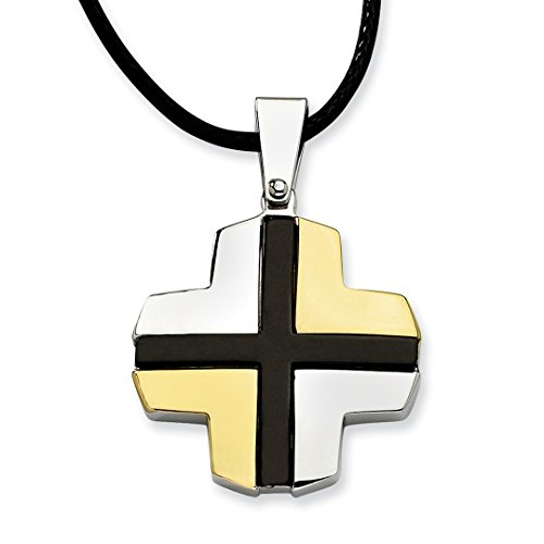 - ICE CARATS Stainless Steel Black Yellow Plated Cross Religious Chain Necklace Pendant Charm Crucifix Fashion Jewelry For Women Gift Set