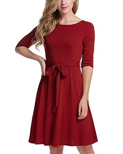 ZAFUL Mujer Elegante Vestido de Fiesta para Boda Cacual Elástico Manga corta Cuello Redondo Rojo S a 2XL Rojo