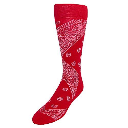 CTM Men's Bandana Socks, Red