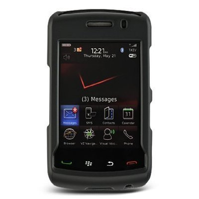BLACK SNAP-ON RUBBERIZED HARD CASE COVER FOR VERIZON BLACKBERRY STORM 2 9550 PHONE (Hard 9550 Cover Case)