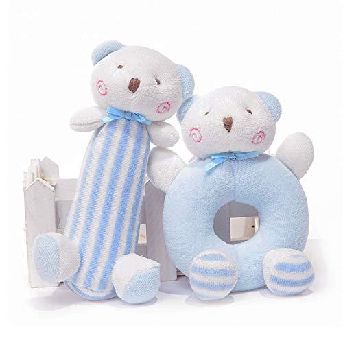 First Year Baby Rattles, Stuffed Animals Plush Bear Soft Teething Toys Set, Developmental Hand Grip, Shaker Stimulating Toys Sound Gift for Infant Boys Girls -