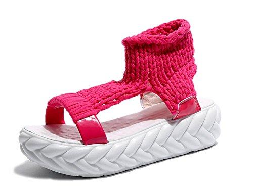 Red Partidos Antideslizante Meili Plataforma Punto Fondo Impermeable Esponja Y Zapatos Suave Gruesos Primavera Todos Los Que Femeninos Rose Verano Sandalias Hilo Hace De Planos xIgqwvI