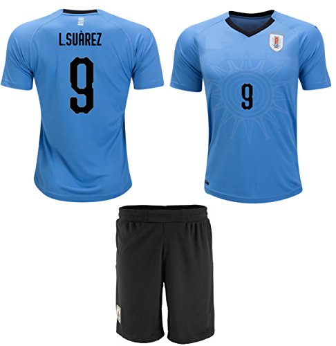 e4d2d7d8f Suarez  9 Uruguay Soccer Jersey Youth World Cup Home Short Sleeve with  Shorts Kit Kids