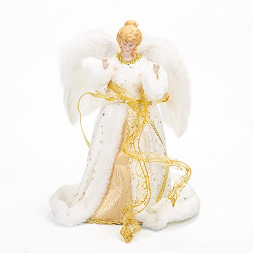 Ivory and Gold Angel With Feather Wings 12 Inch Plush Holiday Tree Topper (Angel Tree Ribbon Topper)