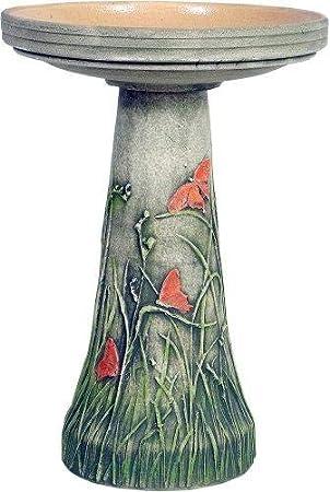 Ceramic Birdbath w Pip Berries /& Flameless Candle