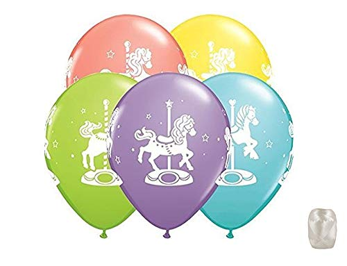 "10 Pack 11"" Pastel Carousel Horse Latex Balloons with Matching Ribbons"