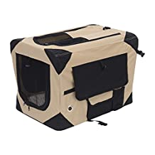 """PawHut D00-009YL 40.2"""" Folding Dog Soft Crate Cage Cat Carrier, Khaki and Black"""