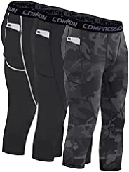 Milin Naco 3/4 Men's Compression Pants Workout Tights Sports Dry Fit Leggings with Pocket Pack